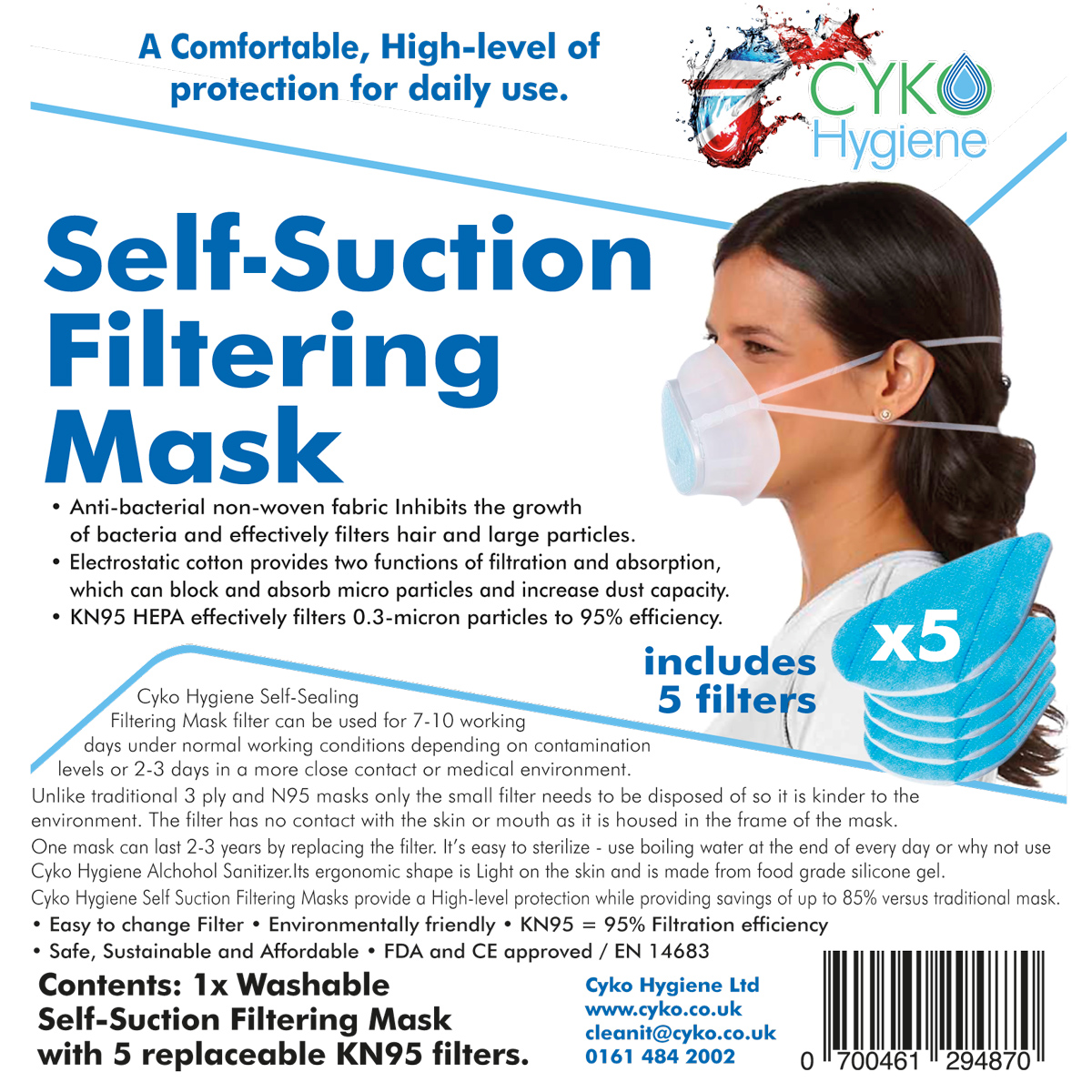 Our KN95 Face Masks, with 5 filters included.