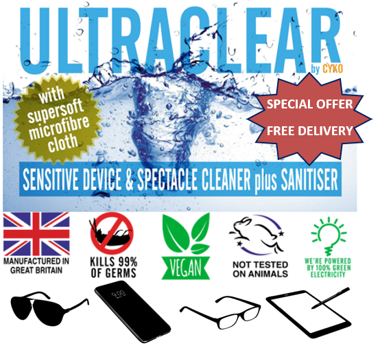 Our sanitising and cleaning solution designed for devices and glasses!